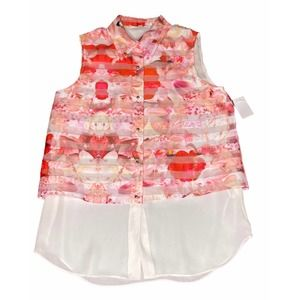 Katherine Kelly Floral Button Up Top NWT XS